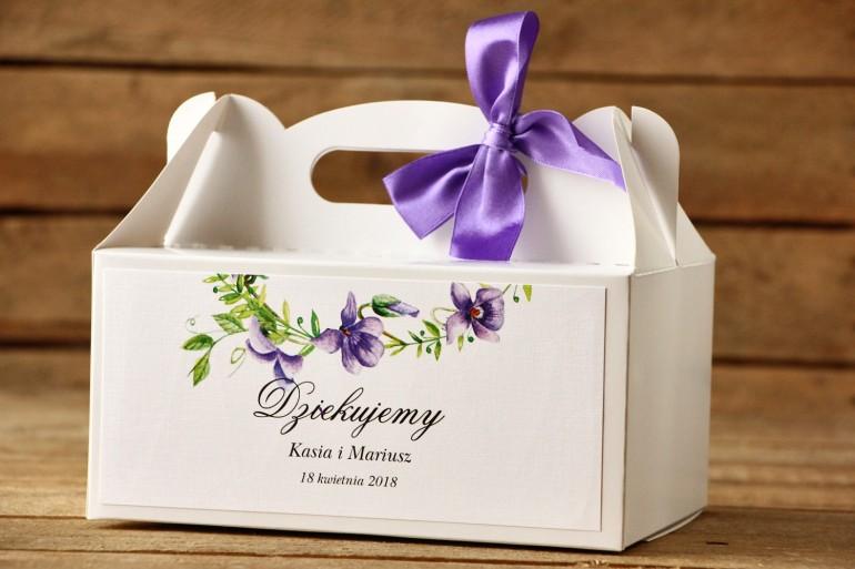 Pudełka na ciasto, tort weselny, prostokątne - Malowane Kwiaty nr 11 - Fioletowe bratki - dodatki ślubne