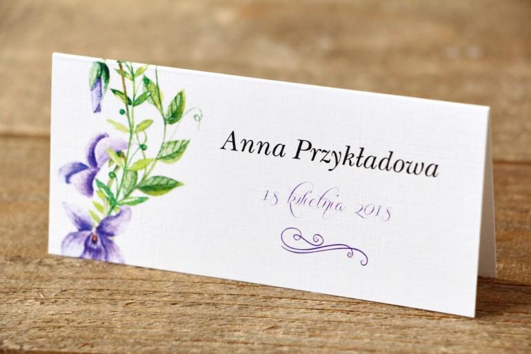 Winietki na stół weselny - Malowane Kwiaty nr 11 - Fioletowe bratki - dodatki ślubne