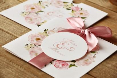 Zaproszenia ślubne w etui z kokardą - Malowane Kwiaty nr 12 - Pudrowe piwonie