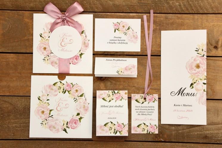 Zaproszenia ślubne z dodatkami - Malowane Kwiaty nr 12 - pudrowe piwonie - papeteria ślubna