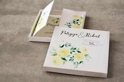 Efektowne Zaproszenie ślubne w pudełku - Pistacjowe nr 9 - Akwarelowe żółte róże