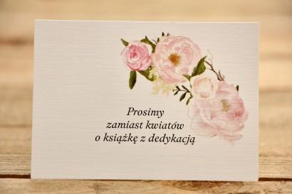 Bileciki do zaproszeń 105 x 74 mm - Malowane Kwiaty nr 12 - Pudrowe piwonie