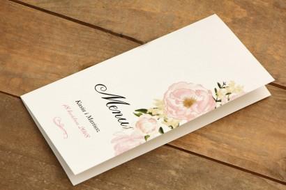 Menu weselne - Malowane kwiaty  nr 12 - Pudrowe piwonie - dodatki ślubne, akcesoria na stół weselny