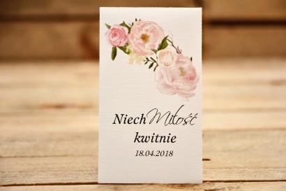 Podziękowania dla Gości weselnych - Nasiona Niezapominajki - Malowane Kwiaty nr 12 - Pudrowe Piwonie - dodatki ślubne