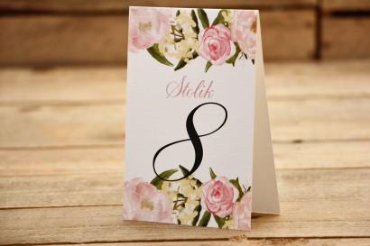 Numery stolików - Malowane kwiaty nr 12- Pudrowe piwonie - dodatki ślubne, akcesoria na stół weselny