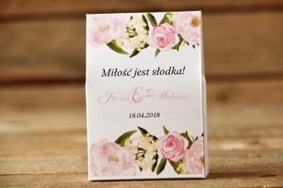 Pudełeczko stojące na cukierki, podziękowania dla Gości weselnych - Malowane Kwiaty nr 12 - Pudrowe piwonie - dodatki ślubne