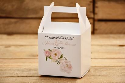 Pudełka na ciasto kwadratowe - Malowane Kwiaty nr 12 - Pudrowe piwonie - dodatki ślubne