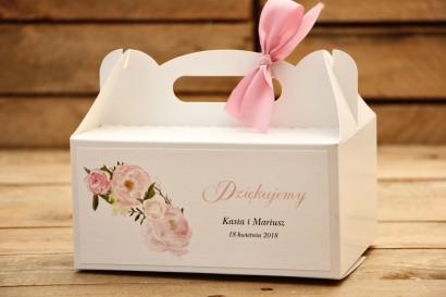 Pudełka na ciasto prostokątne z kokardką - Malowane Kwiaty nr 12 - Pudrowe piwonie - dodatki ślubne, tort weselny