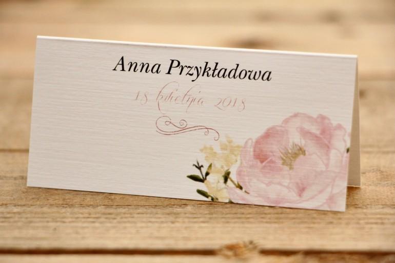 Winietki na stół weselny - Malowane Kwiaty nr 12 - Pudrowe piwonie - dodatki ślubne