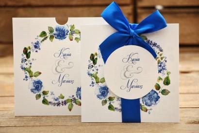 Zaproszenia ślubne w etui z kokardą - Malowane Kwiaty nr 13 - Chabrowe kwiaty
