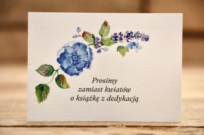 Bileciki do zaproszeń 105 x 74 mm - Malowane Kwiaty nr 13 - Chabrowe kwiaty