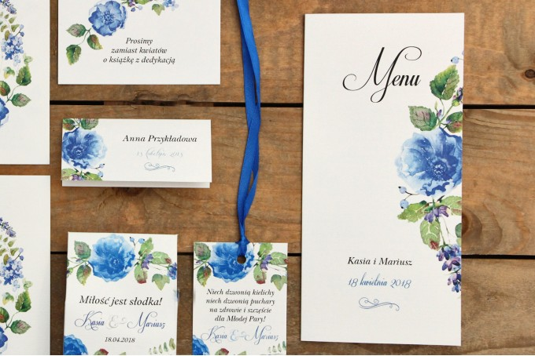 Menu weselne - Malowane Kwiaty nr 13 - Chabrowe kwiaty - dodatki ślubne, akcesoria na stół weselny