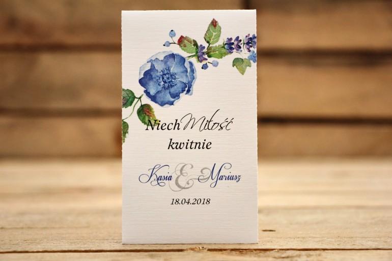 Podziękowania dla Gości weselnych- Nasiona Niezapominajki - Malowane Kwiaty nr 13 - Chabrowe - dodatki ślubne