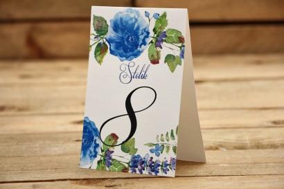Numery stolików - Malowane kwiaty nr 13 - chabrowe - dodatki ślubne, akcesoria na stół weselny