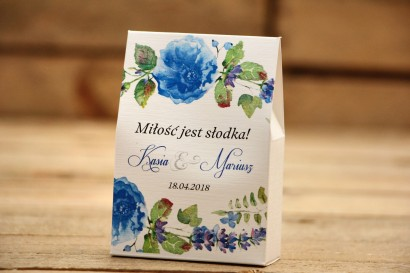 Pudełeczko stojące na cukierki, podziękowania dla Gości weselnych - Malowane Kwiaty nr 13 - Chabrowe - dodatki ślubne