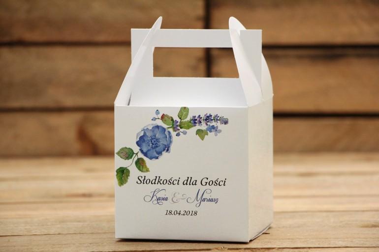 Pudełka na ciasto kwadratowe - Malowane Kwiaty nr 13 - Chabrowe - dodatki ślubne