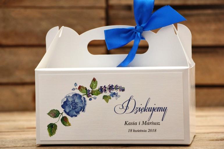 Pudełko na ciasto prostokątne z kokardą - Malowane kwiaty nr 13 - Chabrowe - dodatki ślubne, tort weselny