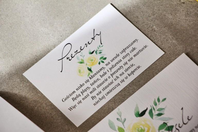 Bilecik do zaproszenia 105 x 74 mm prezenty ślubne wesele - Pistacjowe nr 9 - Delikatne akwarelowe żółte róże