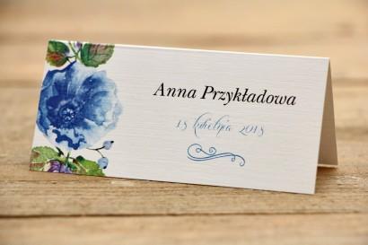 Winietki na stół weselny - Malowane Kwiaty nr 13 - Chabrowe - dodatki ślubne, akcesoria na stół weselny