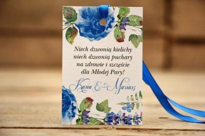 Zawieszka na butelkę, wódka weselna, ślub - Malowane Kwiaty nr 13 - Chabrowe - dodatki ślubne