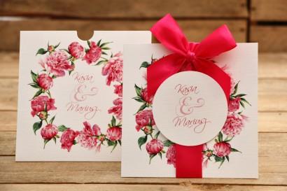 Zaproszenia ślubne w etui z kokardami - Malowane Kwiaty nr 15 - Amarantowe piwonie