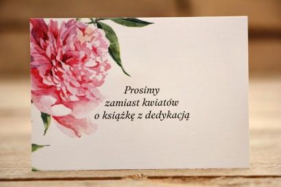 Bileciki do zaproszeń 105 x 74 mm - Malowane Kwiaty nr 15 - Amarantowe piwonie