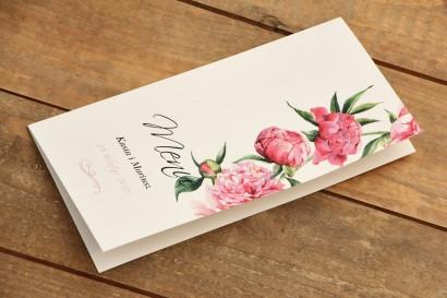 Menu weselne - Malowane Kwiaty nr 15 - Amarantowe piwonie - dodatki ślubne, akcesoria na stół weselny