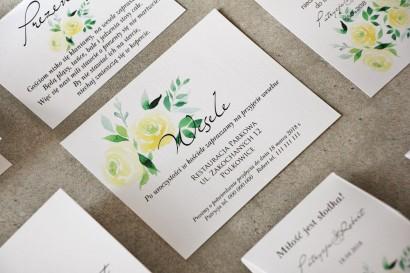 Bilecik do zaproszenia 120 x 98 mm prezenty ślubne wesele - Pistacjowe nr 9 - Delikatne akwarelowe żółte róże
