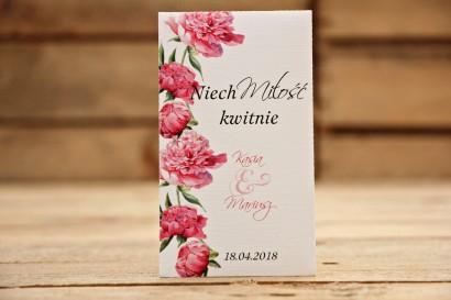 Podziękowania dla Gości weselnych - Nasiona Niezapominajki - Malowane Kwiaty nr 15 - Amarantowe piwonie - dodatki ślubne