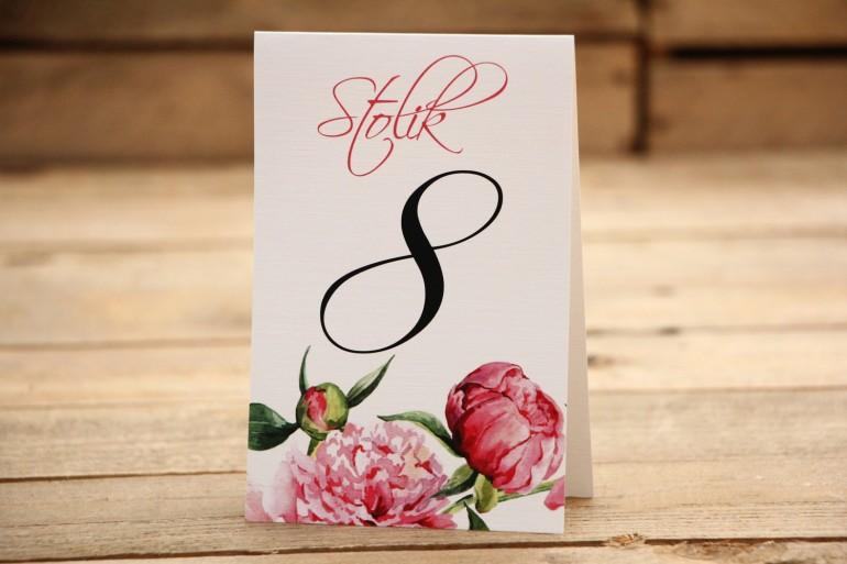 Numery stolików - Malowane Kwiaty nr 15 - Amarantowe piwonie - dodatki ślubne, akcesoria na stół weselny