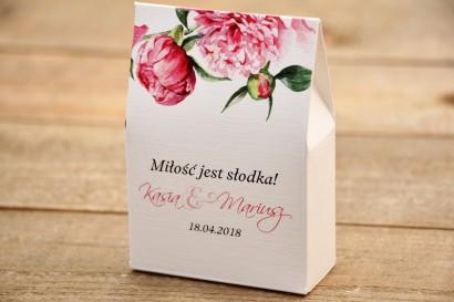 Pudełeczko stojące na cukierki, podziękowania dla Gości weselnych - Malowane Kwiaty nr 15 - Amarantowe piwonie - dodatki ślubne