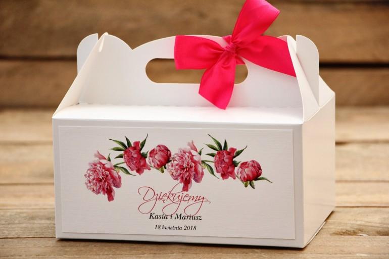 Pudełko na ciasto prostokątne z kokardą - Malowane Kwiaty nr 15 -Amarantowe piwonie - dodatki ślubne, tort weselny