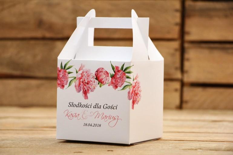 Pudełka na ciasto, tort weselny, kwadratowe - Malowane Kwiaty nr 15 - Amarantowe piwonie - dodatki ślubne