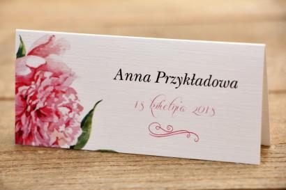 Winietki na stół weselny - Malowane Kwiaty nr 15 - Amarantowe piwonie - dodatki ślubne, akcesoria na stół weselny