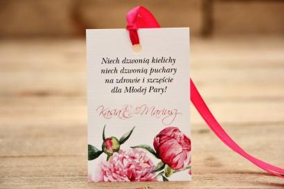 Zawieszka na butelkę, wódka weselna, ślub - Malowane Kwiaty nr 15 - Amarantowe piwonie - dodatki ślubne