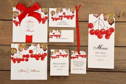 Zaproszenia z dodatkami ślubnymi - Malowane Kwiaty nr 16 - jarzębina - papeteria ślubna