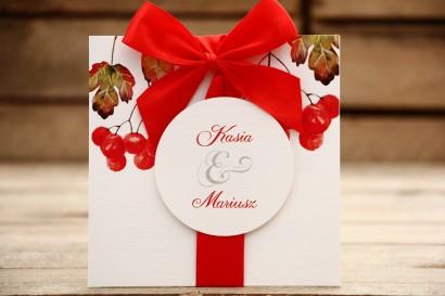 Zaproszenie ślubne w etui - Malowane Kwiaty nr 16 - Jarzębina - z kokardą