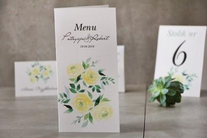 Menu weselne, ślub, stół weselny - Pistacjowe nr 9 - Delikatne akwarelowe żółte róże