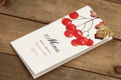 Menu weselne - Malowane Kwiaty nr 16 - Jarzębina - dodatki na stół weselny, ślubne akcesoria