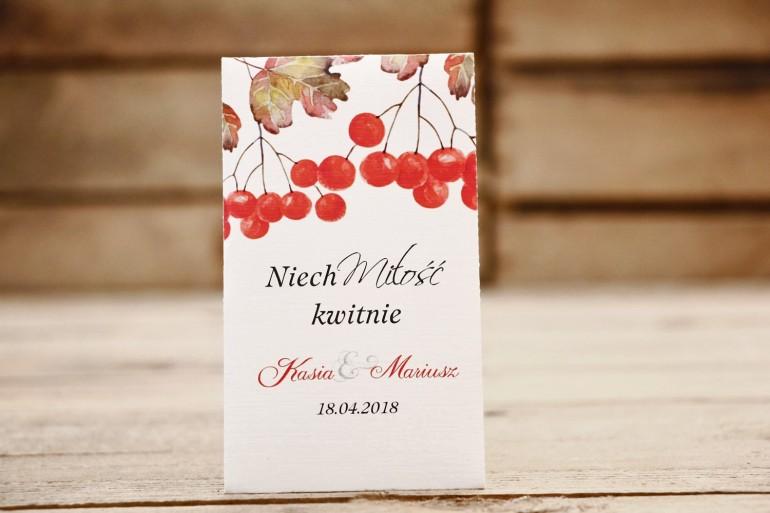 Podziękowania dla Gości weselnych - nasiona Niezapominajki - Malowane Kwiaty 16 - Jarzębina - dodatki ślubne