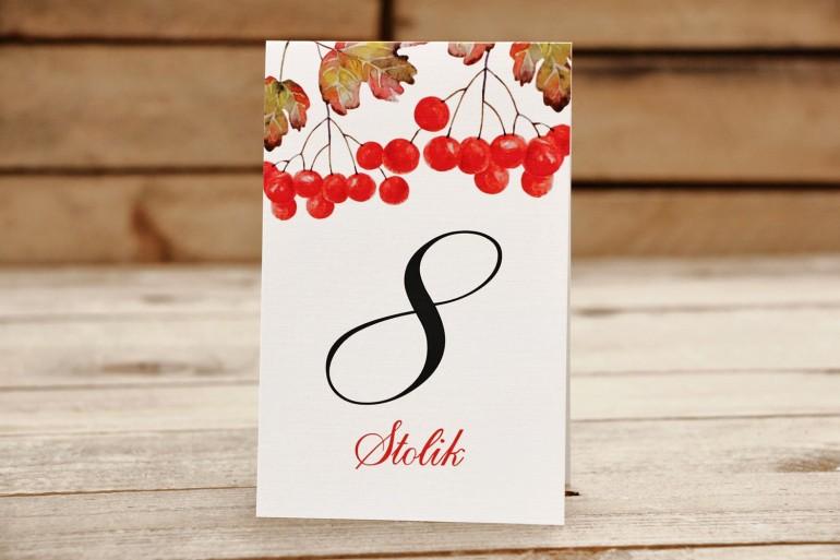 Numery stolików, stół weselny, ślub - Malowane Kwiaty nr 16 - Jarzębina - dodatki ślubne