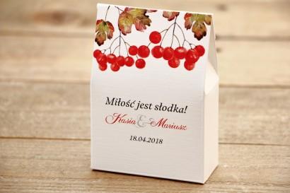 Pudełeczko stojące na cukierki, podziękowania dla Gości weselnych - Malowane Kwiaty nr 16 - Jarzębina - dodatki slubne