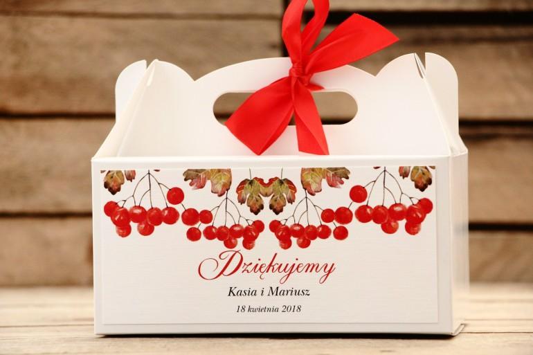 Prostokątne pudełko na ciasto, tort weselny, ślub - Malowane Kwiaty nr 16 - Jarzębina - dodatki ślubne