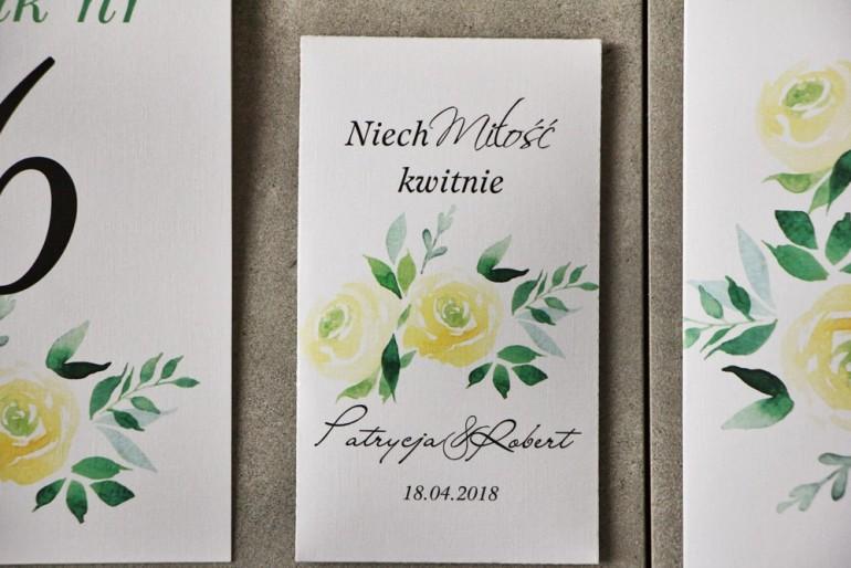 Podziękowania dla Gości weselnych - Nasiona Niezapominajki - Pistacjowe nr 9 - Delikatne żółte róże.