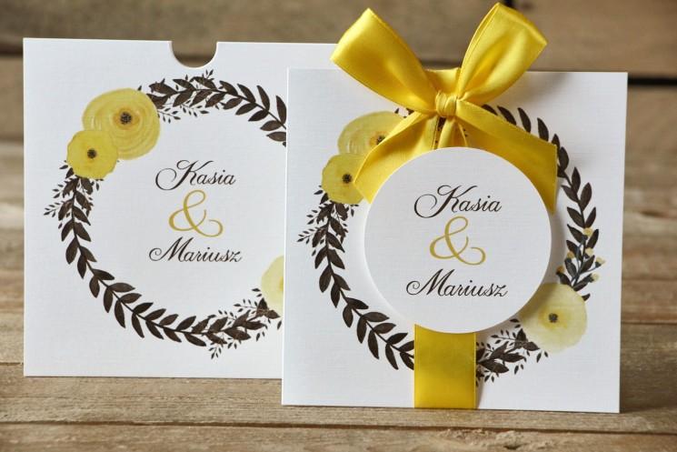 zaproszenia ślubne w kolorze żółtym