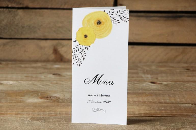 Menu weselne - Malowane Kwiaty nr 18 - Żółte jaskry - dodatki na stół weselny, akcesoria ślubne