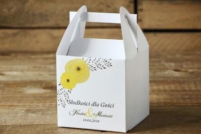 Pudełko na ciasto, kwadratowe - Malowane Kwiaty nr 18 - Żółte jaskry - dodatki ślubne, tort weselny