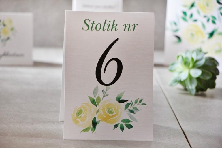 Numery stolików, stół weselny, Ślub - Pistacjowe nr 9 - Akwarelowe żółte róże