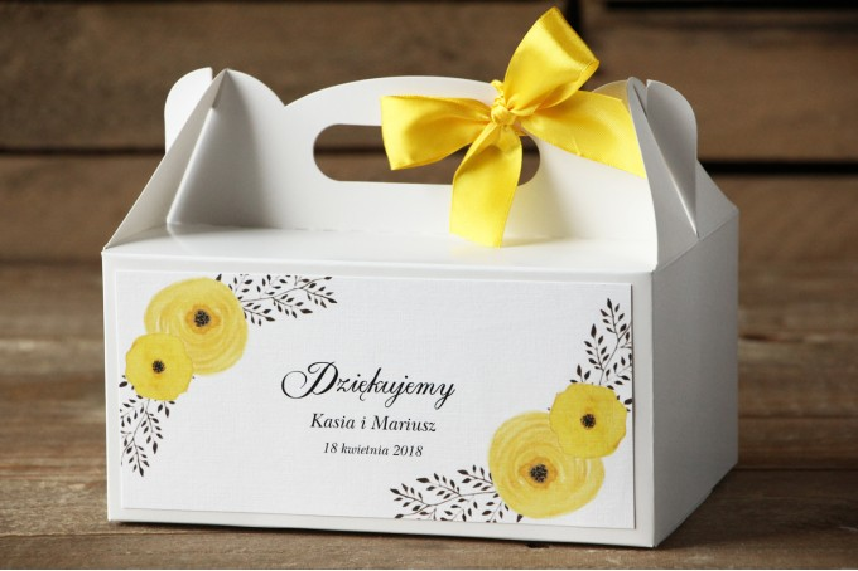 Prostokątne pudełko na ciasto, tort weselny, ślub - Malowane Kwiaty nr 18 - Żółte jaskry - dodatki ślubne