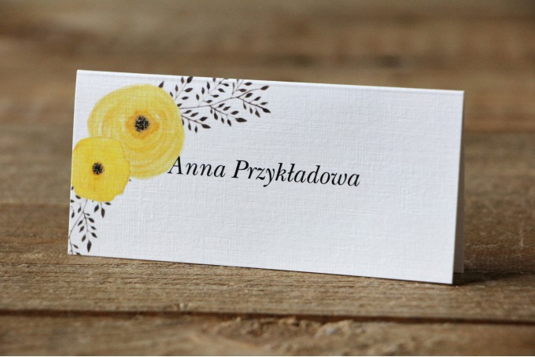 Winietki na stół weselny, ślub - Malowane Kwiaty nr 18 - Żółte jaskry - dodatki ślubne